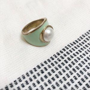 Gold green pearl lia Sophia ring